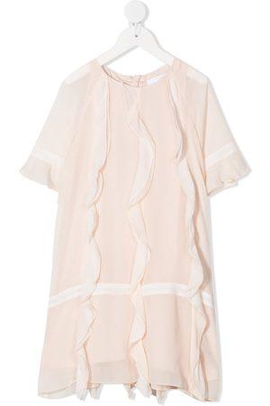 Chloé Ruffle shift silk dress