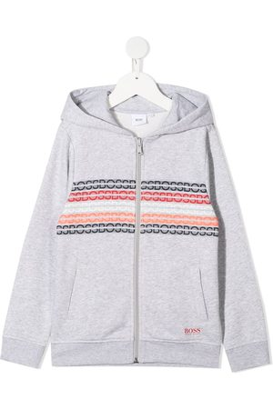 HUGO BOSS Intarsia-logo zip-up hoodie - Grey
