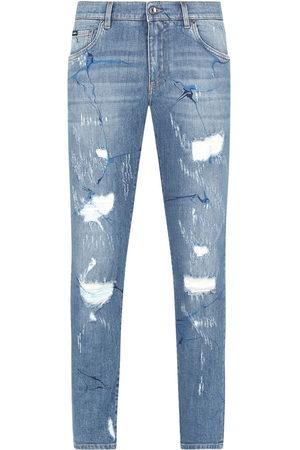 Dolce & Gabbana Graphic distressed straight-leg jeans