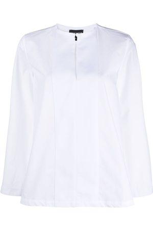 Emporio Armani Panelled-bib cotton blouse