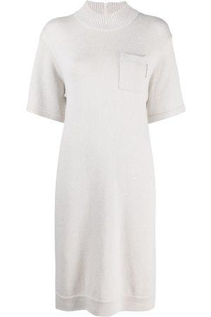Brunello Cucinelli Short-sleeve knitted midi dress - Neutrals