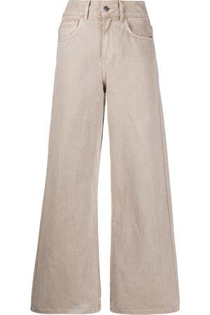 12 STOREEZ High-waisted wide leg jeans - Neutrals