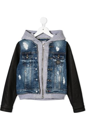Philipp Plein Layered hooded denim jacket