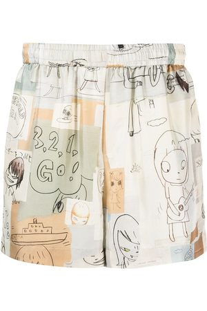 Stella McCartney X Yoshitomo Nara illustration-print shorts - Neutrals