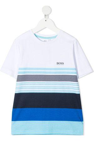 HUGO BOSS Striped logo print t-shirt