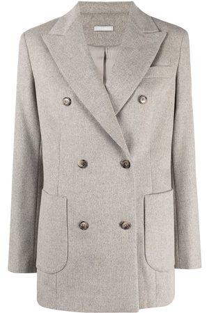 12 STOREEZ Peak-lapels double-breasted blazer - Grey