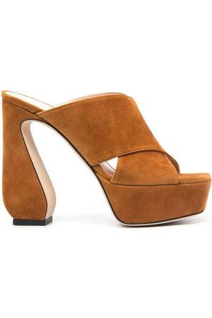 SI ROSSI Criss-cross platform suede sandals