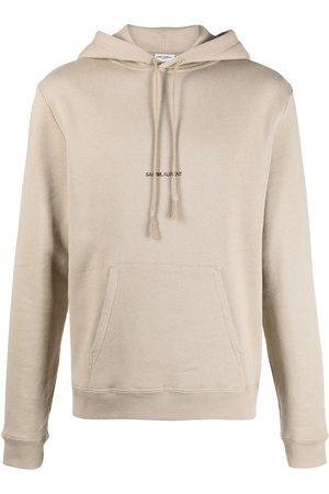 Saint Laurent Cotton-jersey hoodie - Neutrals