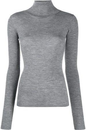 12 STOREEZ Ribbed knit turtleneck jumper - Grey