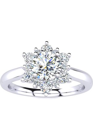 SuperJeweler 2 3/4 Carat Round Shape Flower Halo Moissanite Engagement Ring in 14K (5.30 g)