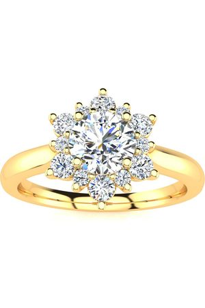 SuperJeweler Women Rings - 2 3/4 Carat Round Shape Flower Halo Moissanite Engagement Ring in 14K (5.30 g)