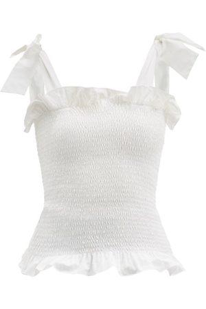 LORETTA CAPONI Alma Tie-shoulder Shirred Cotton Top - Womens - Ivory