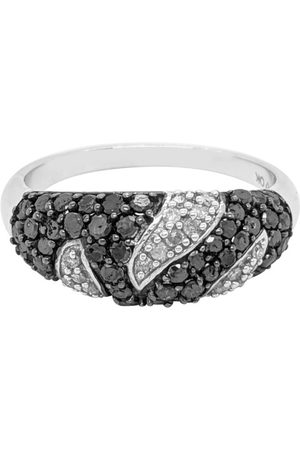 SuperJeweler 1 Carat Black & Diamond Intricate Ring in Sterling Silver (