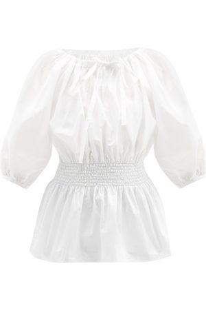 LORETTA CAPONI Stella Shirred Cotton Blouse - Womens - Ivory