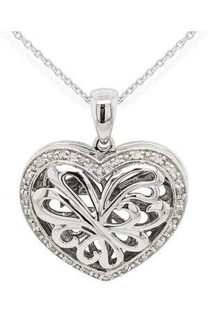 SuperJeweler 1/10 Carat Diamond Heart Locket Necklace in Sterling Silver