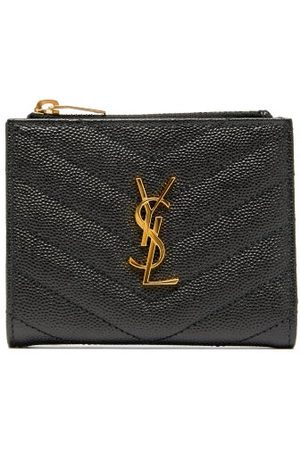 Saint Laurent Ysl-plaque Quilted Pebbled-leather Bi-fold Wallet - Womens