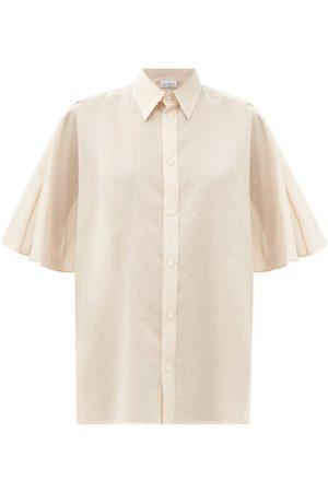 Raey Women Shirts - Roll-sleeve Sheer Cotton-blend Shirt - Womens - Tan