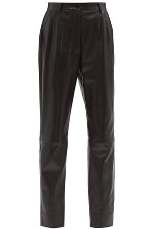 Dolce & Gabbana Women Leather Pants - High-rise Leather Straight-leg Trousers - Womens