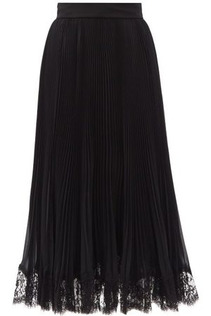 Dolce & Gabbana Plissé Georgette And Lace Midi Skirt - Womens
