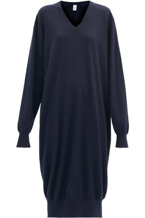 EXTREME CASHMERE Martin Stretch-cashmere Midi Dress - Womens - Navy