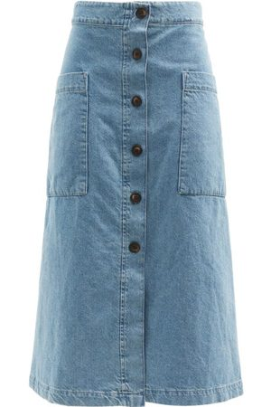 Raey Patch-pocket A-line Denim Skirt - Womens