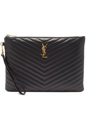 Saint Laurent Ysl-plaque Quilted-leather Pouch - Womens