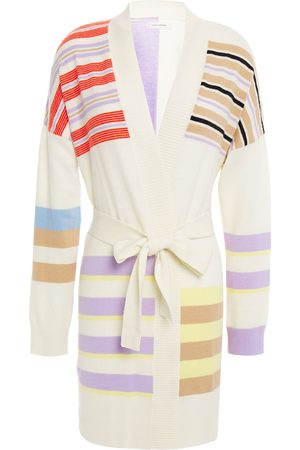 Chinti & Parker Woman Belted Striped Wool And Cashmere-blend Cardigan Ecru Size L