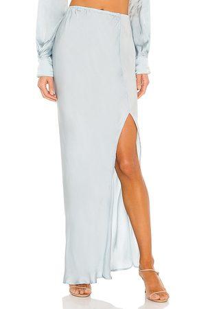 Indah Mist Solid Bias Maxi Skirt in Blue.