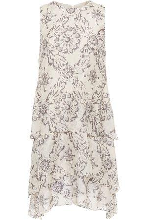 Brunello Cucinelli Women Asymmetrical Dresses - Woman Asymmetric Tiered Printed Silk Mini Dress Size S