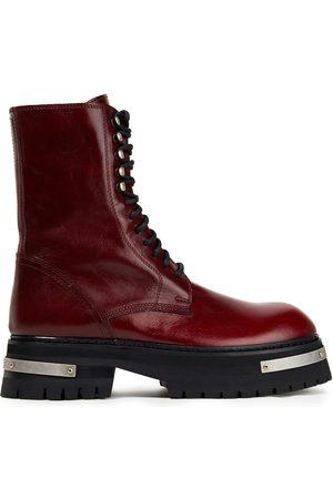 ANN DEMEULEMEESTER Women Heeled Boots - Woman Textured-leather Combat Boots Burgundy Size 36