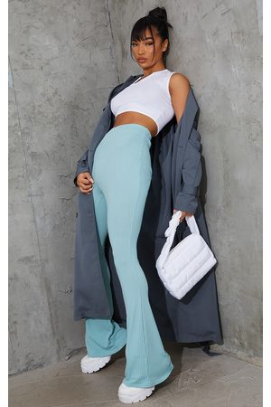 PRETTYLITTLETHING Washed Ribbed Flared Pants