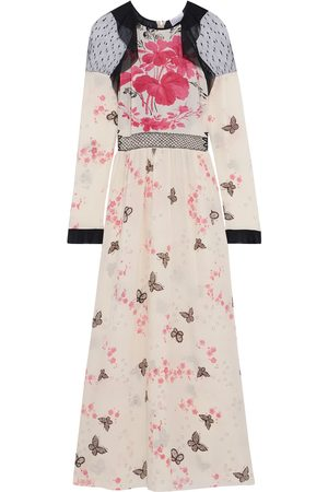 RED Valentino Woman Chiffon-trimmed Point D'esprit-paneled Printed Silk Crepe De Chine Midi Dress Ecru Size 40