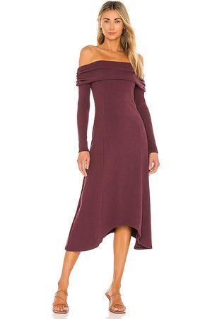House of Harlow X REVOLVE Off Shoulder Long Midi Dress in Burgundy.