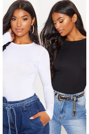PRETTYLITTLETHING Women Long Sleeve - Essential Black & Long Sleeve Fitted T Shirt 2 Pack