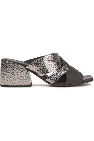 Brunello Cucinelli Woman Bead-embellished Snake-effect Leather Mules Size 37