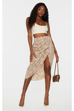 PRETTYLITTLETHING Stone Leopard Print Ruched Side Midi Skirt