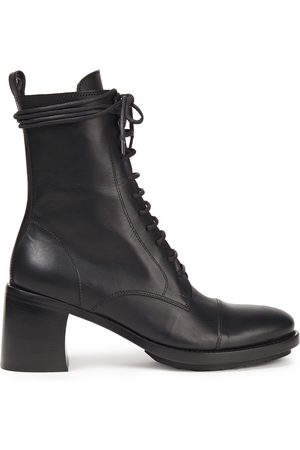 ANN DEMEULEMEESTER Women Ankle Boots - Woman Lace-up Leather Ankle Boots Size 36