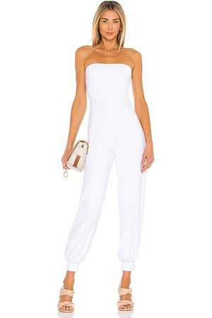 Susana Monaco Strapless Cuffed Ankle Jumpsuit in White.