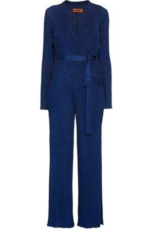 Missoni Woman Wrap-effect Metallic Ribbed-knit Jumpsuit Bright Size 40