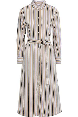 Chinti & Parker Woman Belted Striped Woven Midi Shirt Dress Size 14