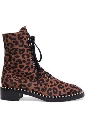 Stuart Weitzman Women Ankle Boots - Woman Sondra Faux Pearl-embellished Leopard-print Suede Ankle Boots Animal Print Size 35.5