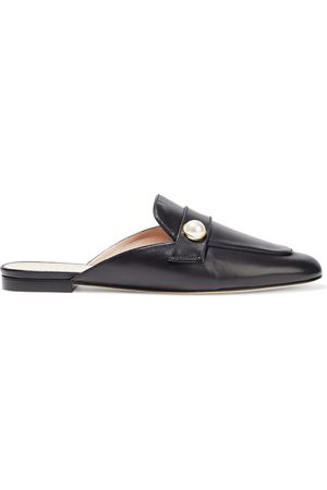 Stuart Weitzman Women Flat Shoes - Woman Payson Faux Pearl-embellished Leather Slippers Size 35
