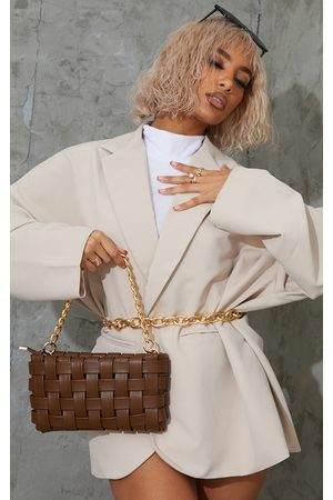 PRETTYLITTLETHING Women Purses - Chocolate Oversized Weave With Gold Chain Shoulder Bag