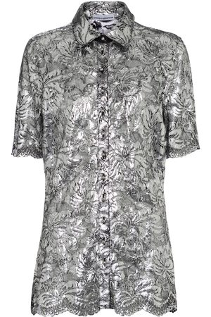 Paco rabanne Metallic floral-lace blouse