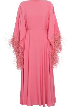 VALENTINO Feather-trimmed silk georgette dress