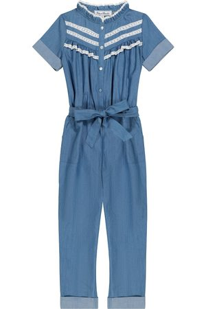 Tartine Et Chocolat Lace-trimmed cotton chambray jumpsuit
