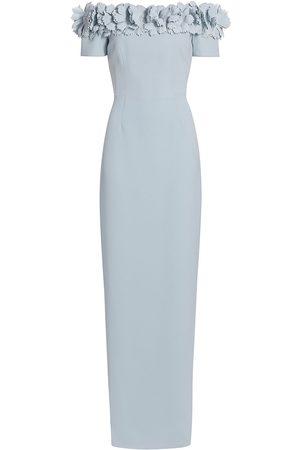 Catherine Regehr Women's Off-The-Shoulder Floral Appliqué Techno Crepe Gown - Pale - Size 14