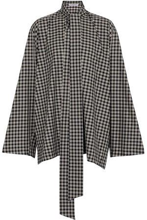 Balenciaga Oversized checked cotton-blend blouse