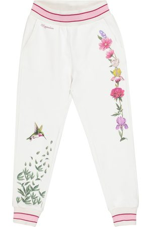 MONNALISA Embroidered stretch-cotton trackpants