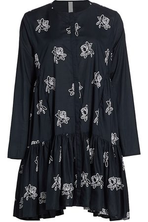 Merlette Women Printed Dresses - Women's Caliza Floral Embroidered Tunic Dress - Navy - Size Large